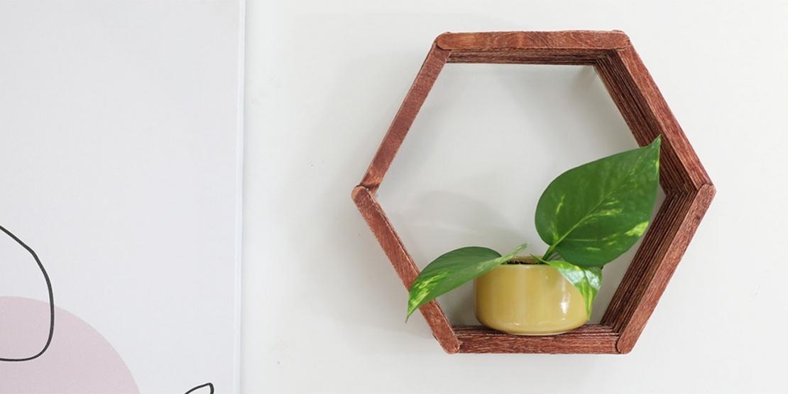 DIY Bostik Malaysia tutorials hexagon shelf banner