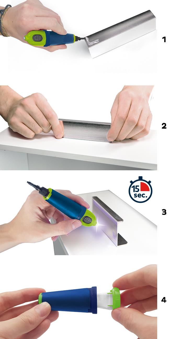 Bostik DIY Greece Repair Assembly Fix Flash step 1-2-3-4
