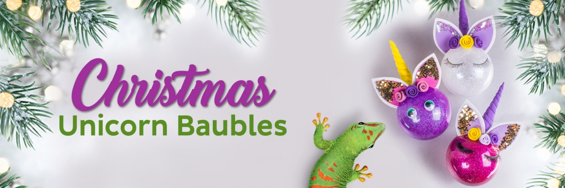 Bostik DIY South Africa Tutorial Christmas Unicorn Baubles banner