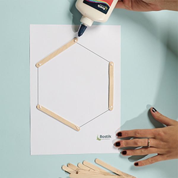 DIY Bostik Indonesia tutorials hexagon shelf project step 1