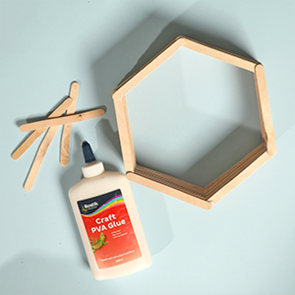 DIY Bostik Indonesia tutorials hexagon shelf project step 3