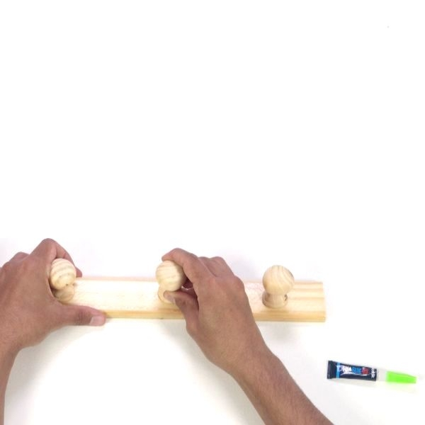 reattach the wooden coat hook with super contact glue