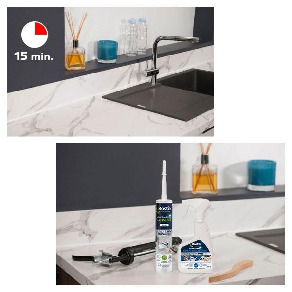 Bostik DIY France tutorial how to make a kitchen seal step 5
