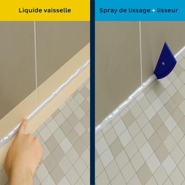 Bostik DIY France tutorial smoothing spray vs dishwashing soap step 4