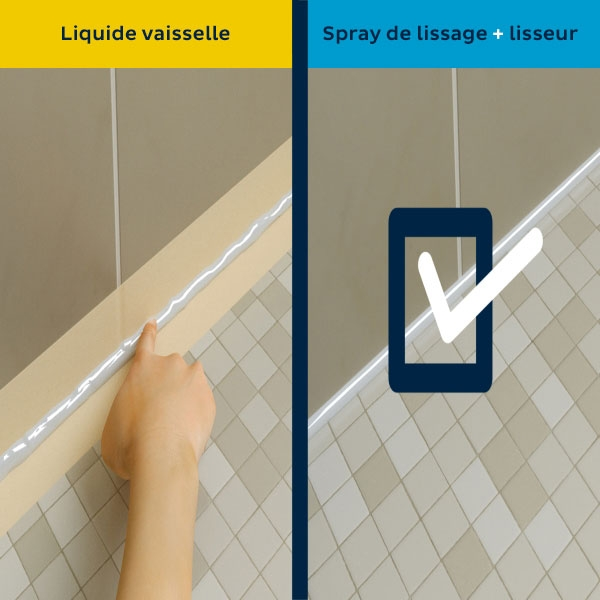 Bostik DIY Poland tutorial smoothing spray vs dishwashing soap step 5